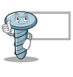 Thumbs up with board screw character cartoon style vector