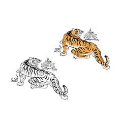 tiger thai tattoo design vector image vector image