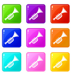 Trumpet toy icons 9 set vector