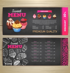 Vintage chalk drawing dessert menu design vector