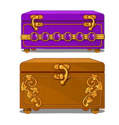 Vintage suitcase with floral pattern and buckles vector