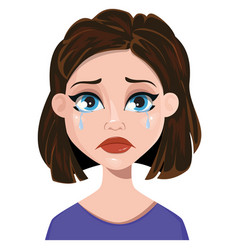 woman crying female emotion face expression cute vector image vector image