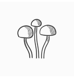 Mushroom sketch icon vector