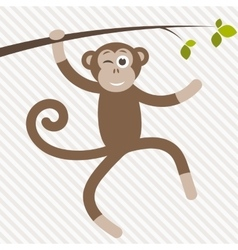 funny monkey hanging on the tree vector image