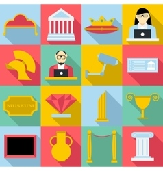 Museum icons set flat style vector
