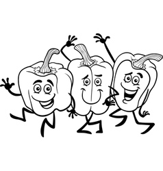 Cartoon peppers vegetables for coloring book vector