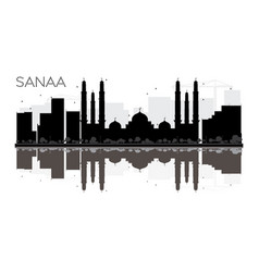 Sanaa city skyline black and white silhouette vector