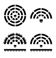 People icon on round table in black color vector