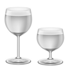Two stages of filling up wineglasses with water vector