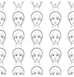 female faces seamless pattern vector image