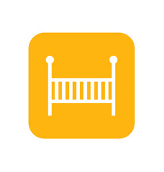 Cot flat color icon baby items for newborns vector