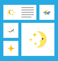 Flat icon night set of nighttime midnight night vector