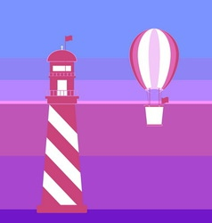 Lighthouse and balloon romantic background vector