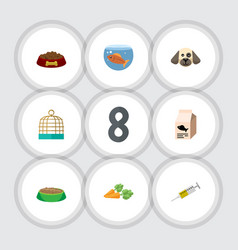Flat icon animal set of rabbit meal vaccine vector