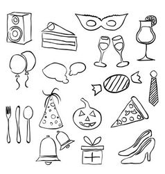 doodle party images vector image
