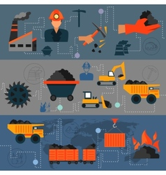 Coal industry line banners vector
