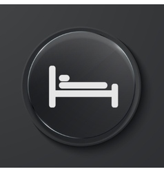 Modern black glass circle icon vector