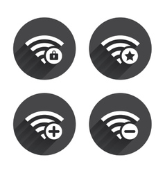 Wifi wireless network icons wi-fi add remove vector