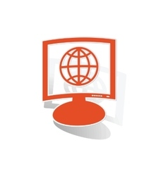 Global network monitor sticker orange vector