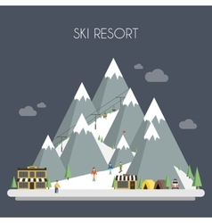 Ski resort mountain landscapes flat vector