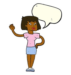 Cartoon woman waving with speech bubble vector