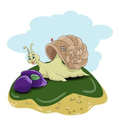 Snail and plums vector image