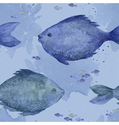 Blue watercolor fish seamless vector