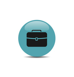 Briefcase icon on blue bubble and white background vector