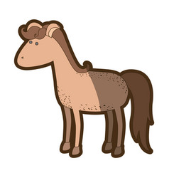 Brown clear silhouette of cartoon horse with vector