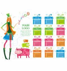 Calendar girl vector