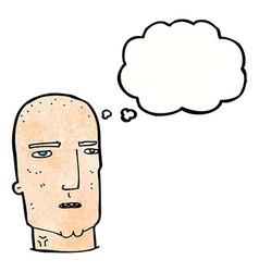 Cartoon bald tough guy with thought bubble vector