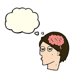 Cartoon man thinking carefully with thought bubble vector