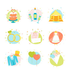 Cartoon wedding color icons set vector