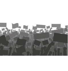 Cheering or protesting crowd with flags vector