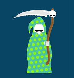 Death in pajamas grim reaper in color hood cloak vector