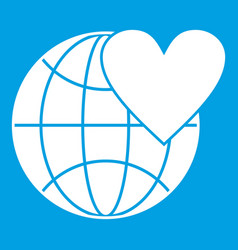 Earth world globe with heart icon white vector