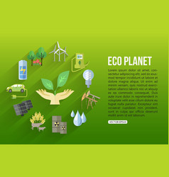 Eco planet flat style design concept with ecology vector image vector image