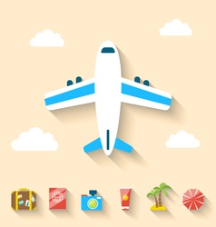Flat set icons of planning summer vacation minimal vector image vector image