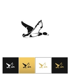 Flying duck silhouette or hunting target vector