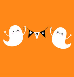 Flying ghost spirit holding bunting flag boo vector