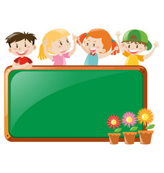 frame design with kids and flowers vector image