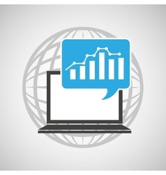 globe computer statistics graphic communication vector image