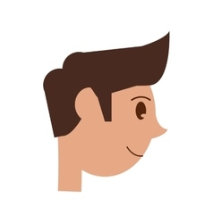 Head cartoon young man smiling side vector