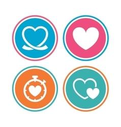Heart ribbon icon timer stopwatch symbol vector