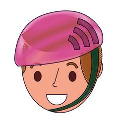 little young boy wearing sport helmet vector image