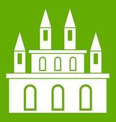 Medieval castle icon green vector