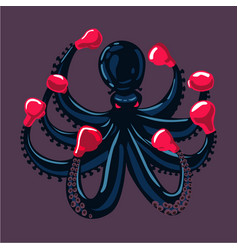 octopus boxer sport mascot animal cartoon vector image vector image