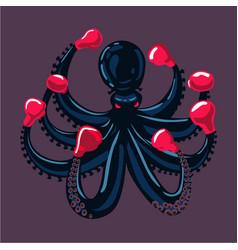 octopus boxer sport mascot animal cartoon vector image