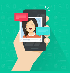 Online video call on smartphone flat vector