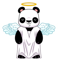 Panda in angel suit vector image vector image